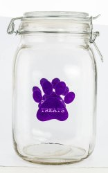 Clear Plastic Pet Treat Jar Canister with Purple Paw Print Air Tight Lid