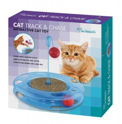 Cat Track and Chase Race Track with Swinging Ball & Scratch Pad on Top