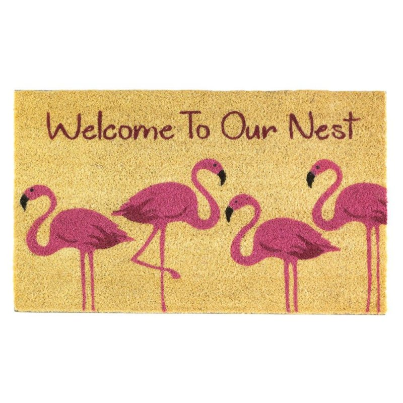 Image 0 of Welcome to our Nest Pink Flamingo Family Coir Door Mat Tropical Decor
