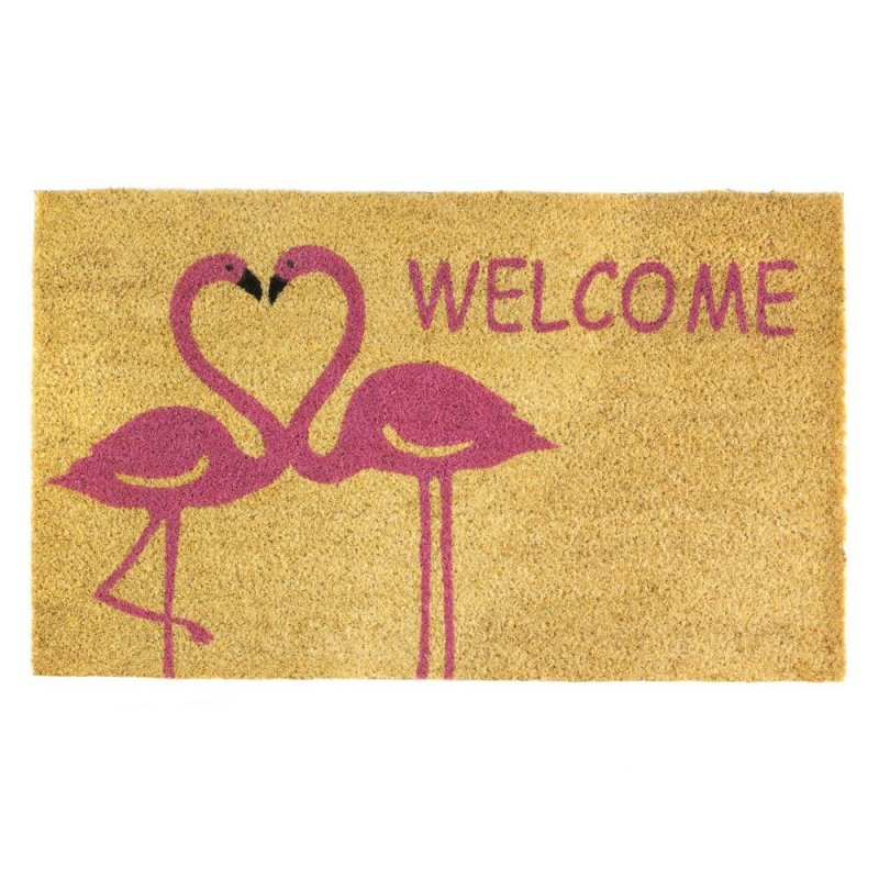 Image 0 of Two Pink Flamingo Making a Heart Shape Love Welcome Coir Door Mat Tropical Decor