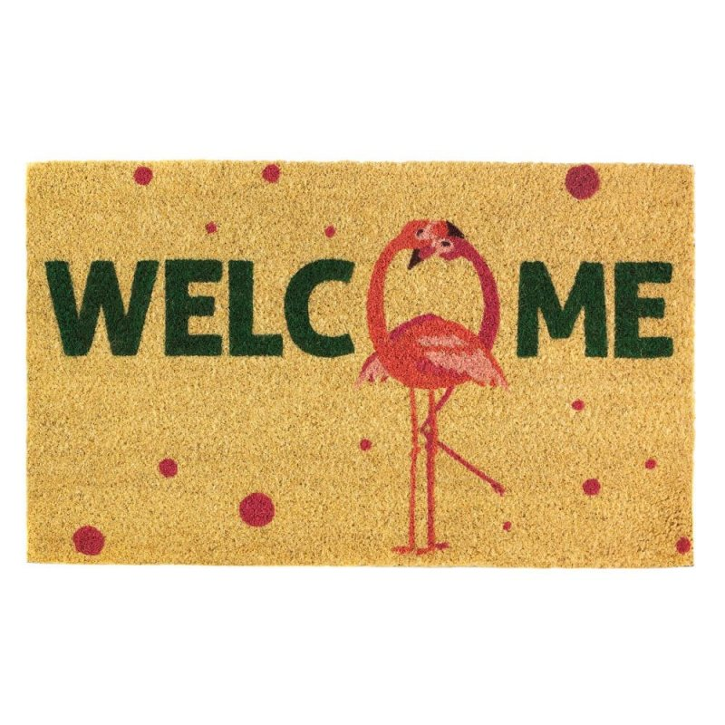 Image 0 of Pink Flamingo Fun Welcome Coir Door Mat w/ Polka Dots Tropical Decor