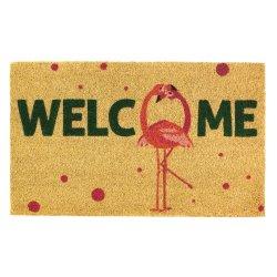 Pink Flamingo Fun Welcome Coir Door Mat w/ Polka Dots Tropical Decor