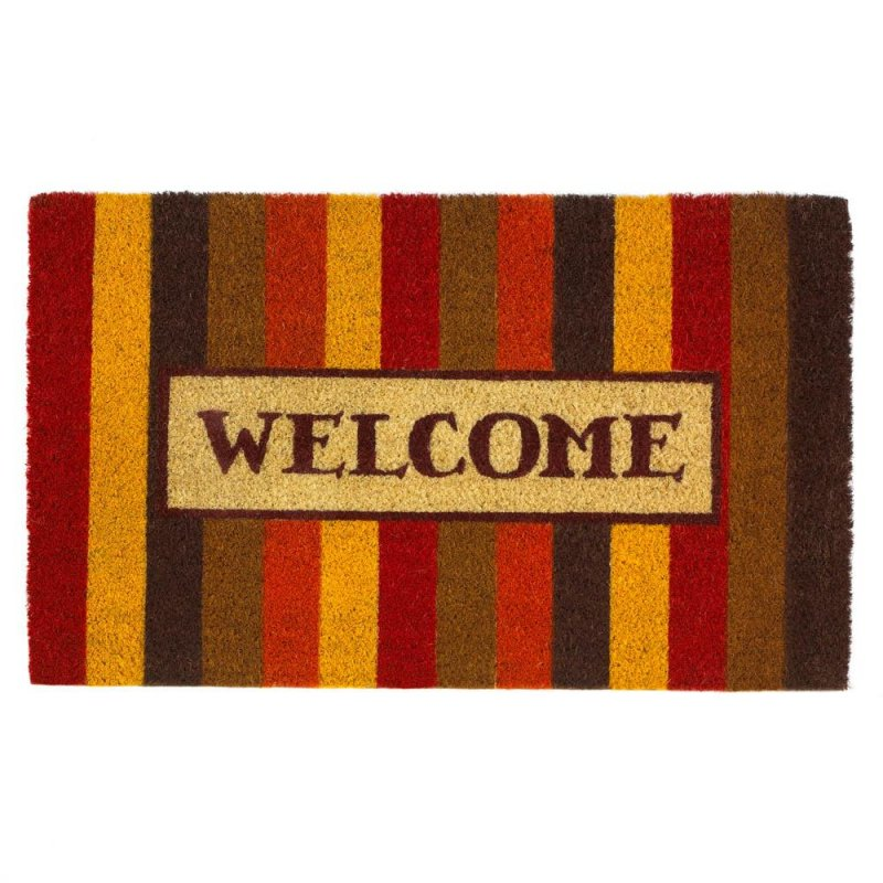 Image 0 of Autumn Colors Striped Coir Welcome Door Mat Thanksgiving Decor
