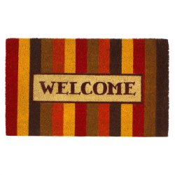 Autumn Colors Striped Coir Welcome Door Mat Thanksgiving Decor