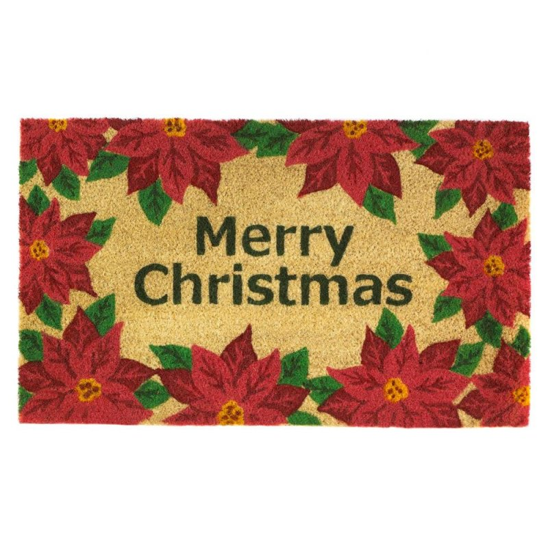 Image 0 of Merry Christmas with a Poinsetta Print Border Coir Welcome Door Mat