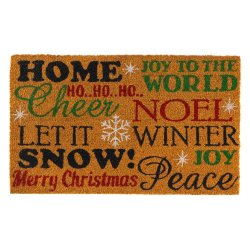 Cheerful Holiday Sayings Coir Welcome Door Mat Christmas Holiday Decor