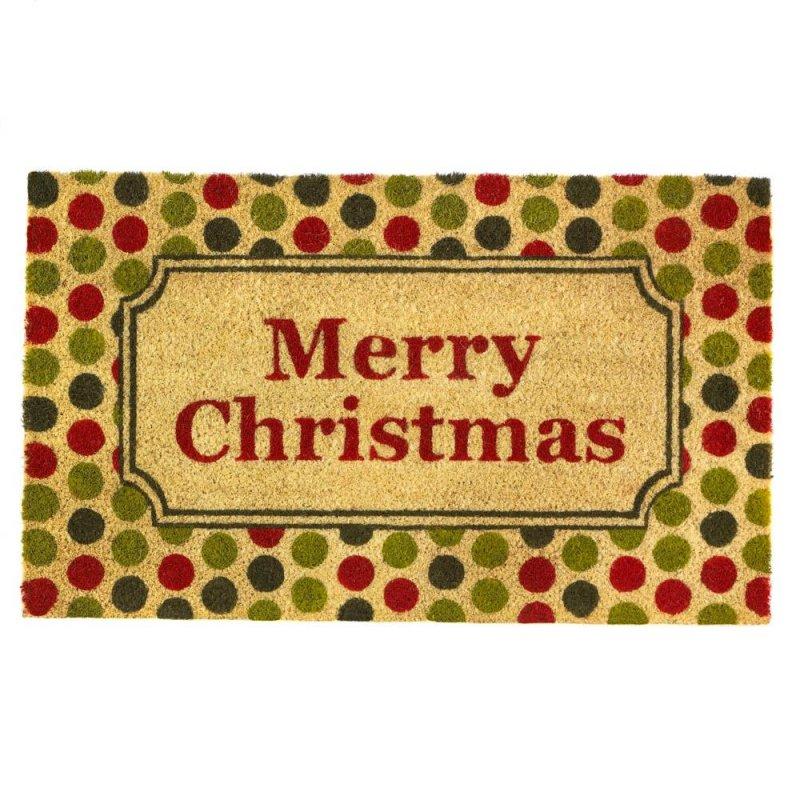 Image 0 of Merry Christmas with a Retro Polka Dot Print Design Coir Welcome Door Mat