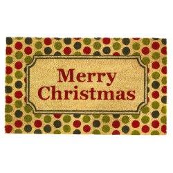 Merry Christmas with a Retro Polka Dot Print Design Coir Welcome Door Mat