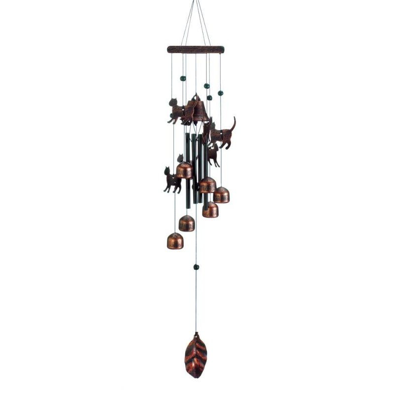 Image 0 of Bronze Color Cat Silhouettes & Bells Wind Chime 26
