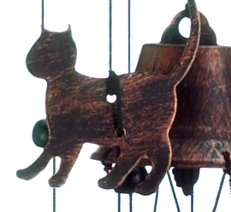 Image 1 of Bronze Color Cat Silhouettes & Bells Wind Chime 26