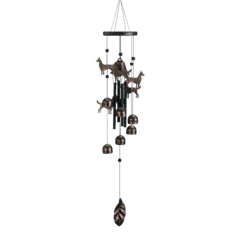 Image 0 of Bronze Color Dog Silhouettes & Bells Wind Chime 26