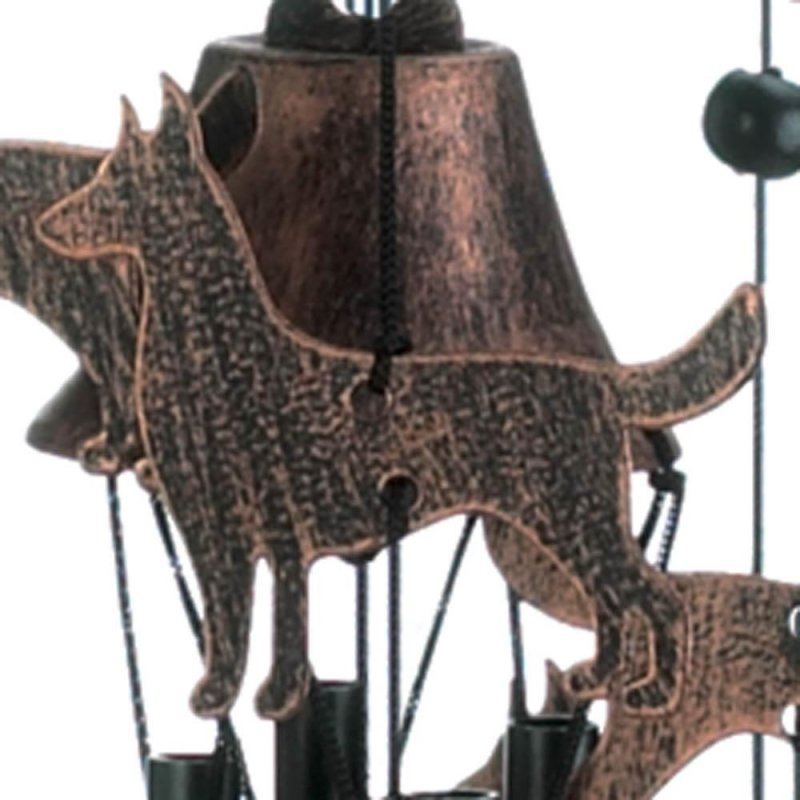 Image 1 of Bronze Color Dog Silhouettes & Bells Wind Chime 26