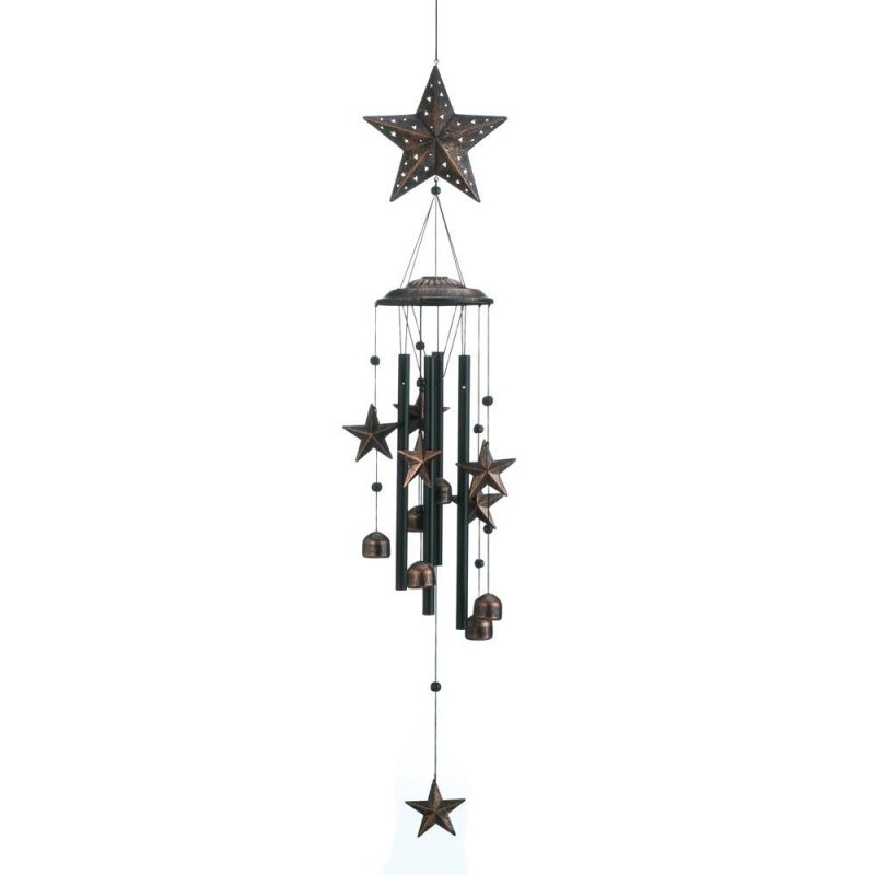 Image 0 of Bronze Color Stars Silhouettes & Bells Wind Chime 26