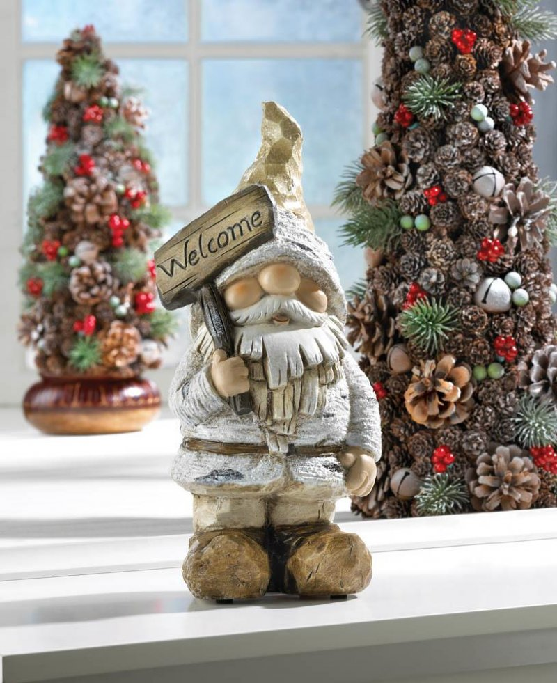 Image 0 of Garden Gnome Figurine/Statue Dressed for Winter Holding Welcome Sign