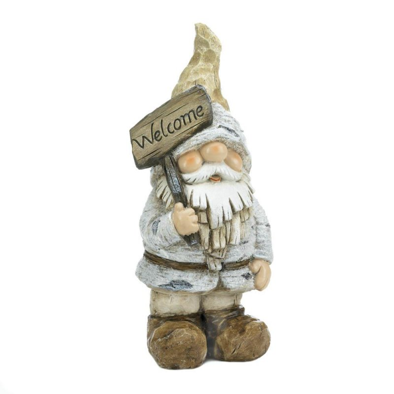 Image 1 of Garden Gnome Figurine/Statue Dressed for Winter Holding Welcome Sign