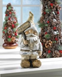 Garden Gnome Figurine/Statue Dressed for Winter Holding Welcome Sign