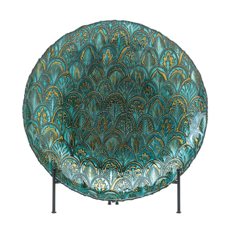 Image 0 of Abstract Design Peacock Decorative Plate in Metallic Greens and Gold