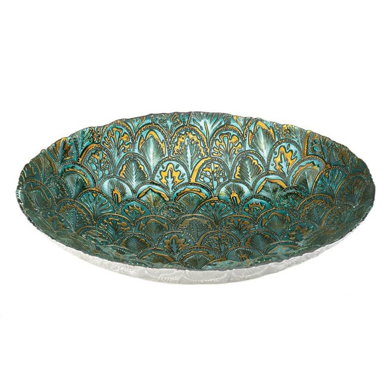 Image 1 of Abstract Design Peacock Decorative Plate in Metallic Greens and Gold