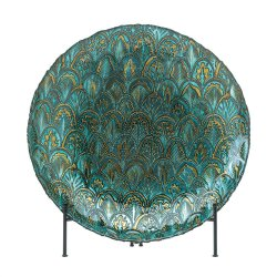 Abstract Design Peacock Decorative Plate in Metallic Greens and Gold