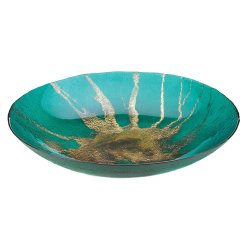 Celestial Teal Decorative Plate w/ Metallic Gold Star Burst Design