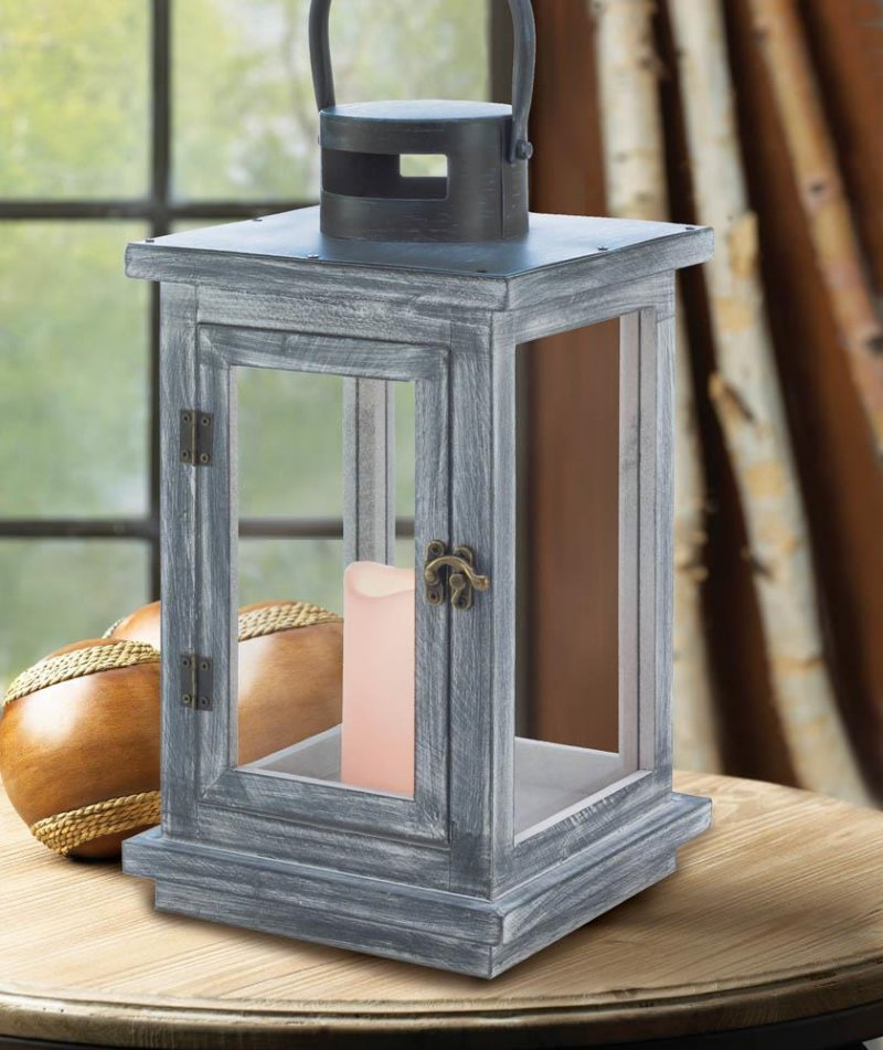 Image 0 of Rustic Distressed Gray Wooden Pine LED Candle Lantern Use Indoors or Outdoor