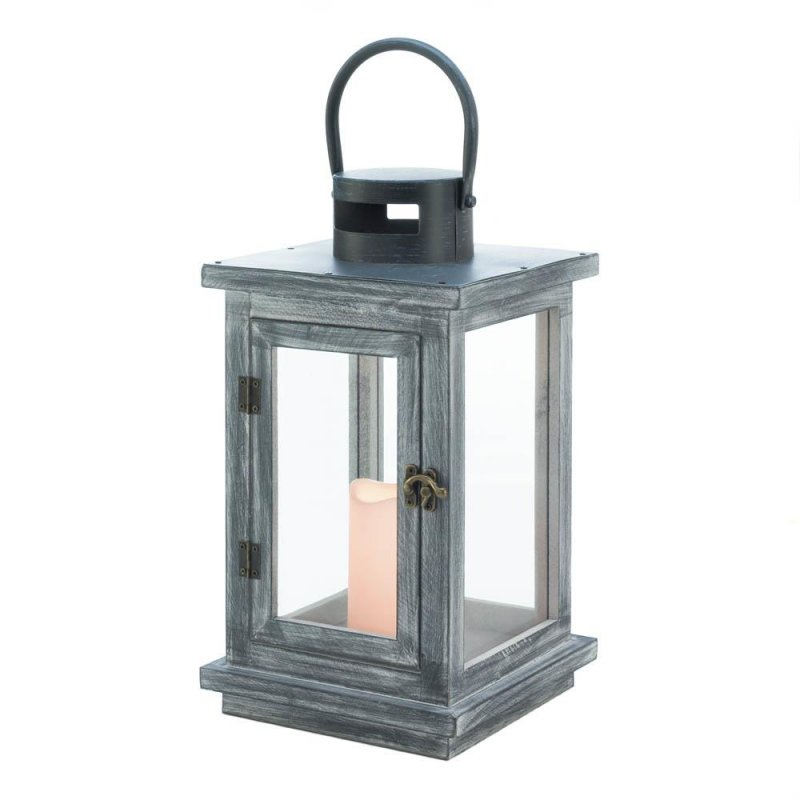 Image 1 of Rustic Distressed Gray Wooden Pine LED Candle Lantern Use Indoors or Outdoor
