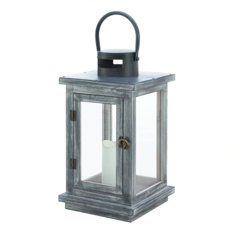 Image 2 of Rustic Distressed Gray Wooden Pine LED Candle Lantern Use Indoors or Outdoor
