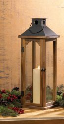 Large Wooden Pine Pillar Candle Lantern w/ Metal Top Use Indoors or Outdoor