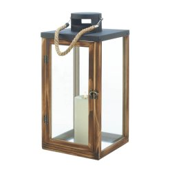 Chic Wooden Pine Pillar Candle Lantern w/ Metal Top Use Indoors or Outdoor
