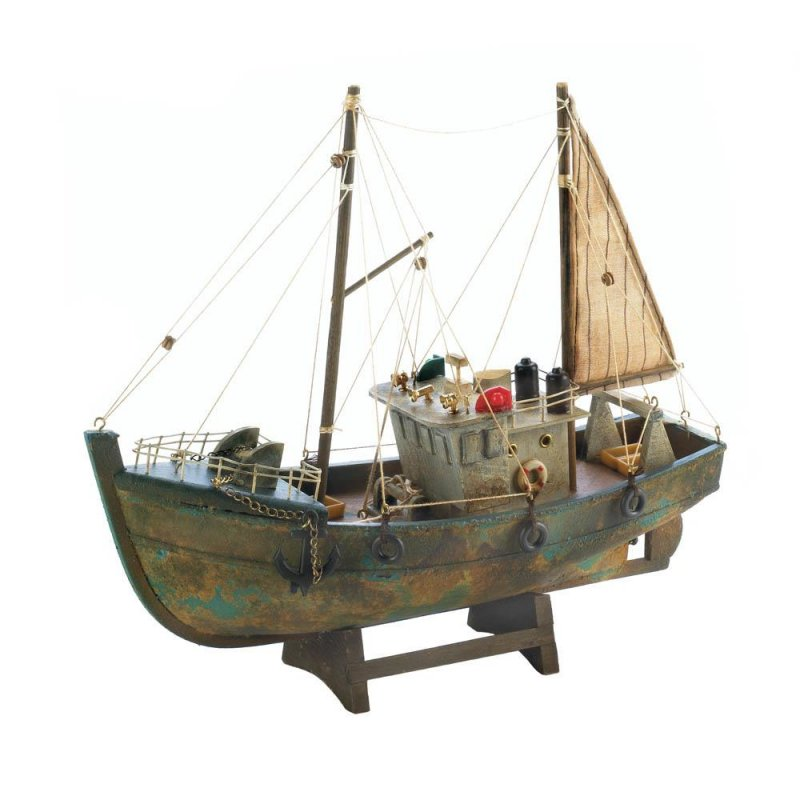 Image 0 of Ancient Fishing Boat Model Cotton w/ Shrimp Sieves & Cooker Sails Nautical Decor