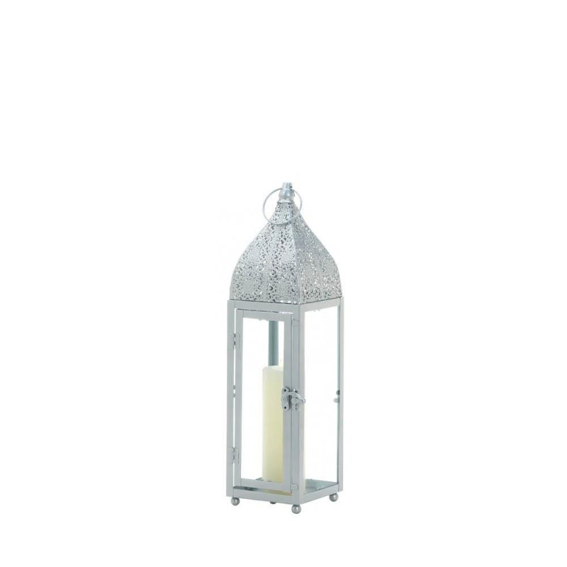 Image 1 of Small Silver Moroccan Style Candle Lantern Intricate Design on Top