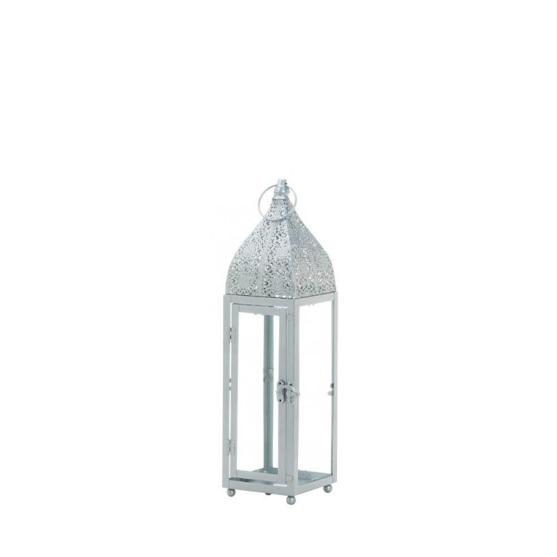 Image 2 of Small Silver Moroccan Style Candle Lantern Intricate Design on Top