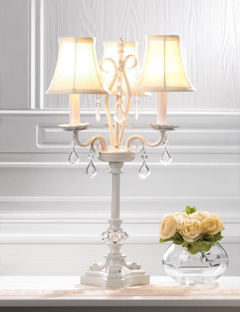 Image 0 of French Country Style White Chandelier Table Lamp w/ hanging Faceted  Jewels
