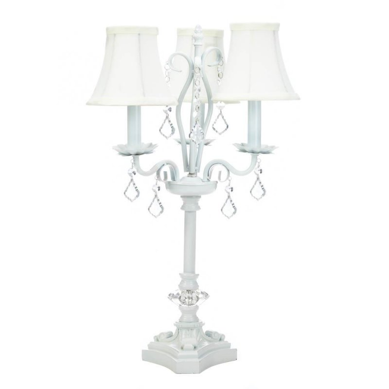 Image 1 of French Country Style White Chandelier Table Lamp w/ hanging Faceted  Jewels