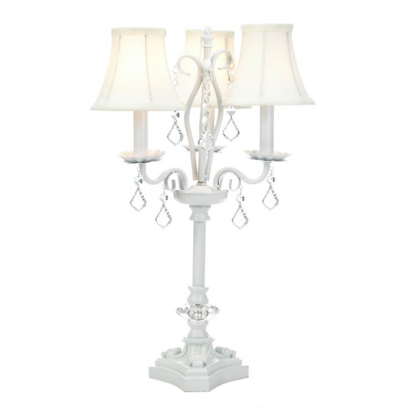 Image 2 of French Country Style White Chandelier Table Lamp w/ hanging Faceted  Jewels
