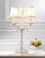 French Country Style White Chandelier Table Lamp w/ hanging Faceted  Jewels