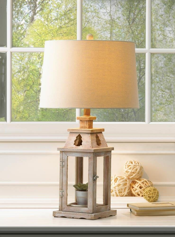 Image 0 of Brushed White Wooden Candle Lantern Base or Electric Table Lamp