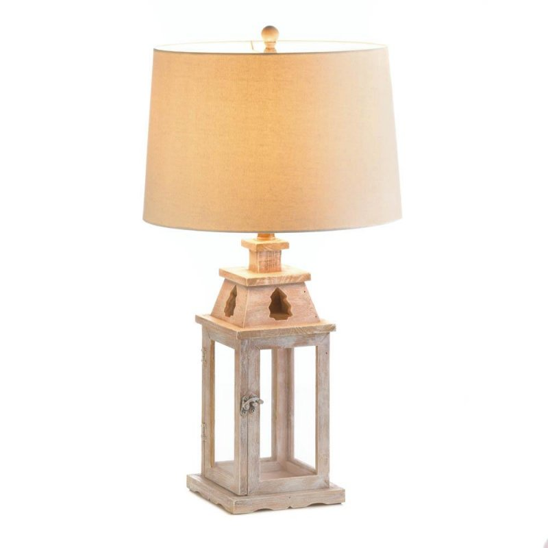 Image 1 of Brushed White Wooden Candle Lantern Base or Electric Table Lamp