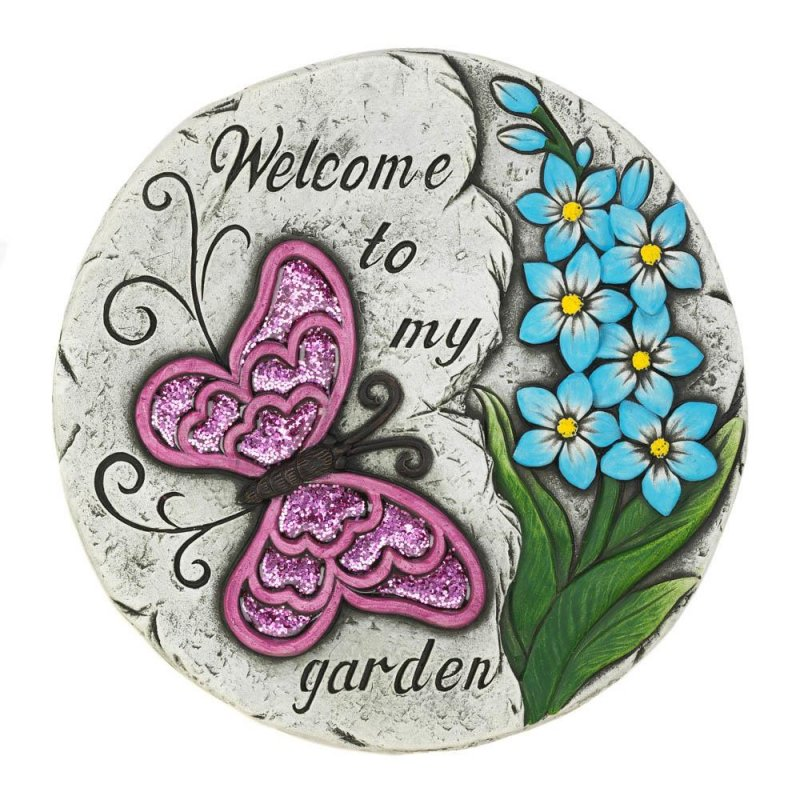Image 0 of Welcome to My Garden Stepping Stone Pink Butterfly w/ Blue Flowers