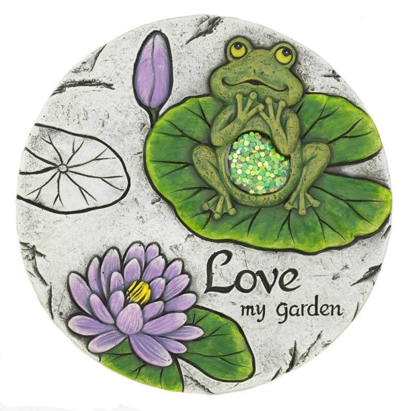 Image 0 of Love my Garden Stepping Stone with Green Frog & Purple Water Lily
