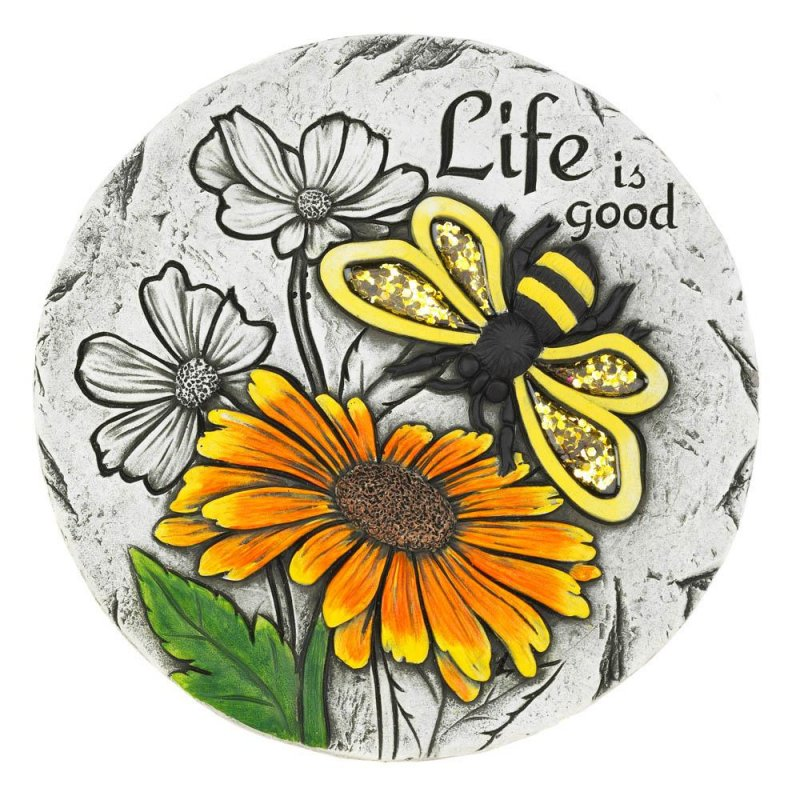 Image 0 of Life is Good Garden Stepping Stone with Bumble Bee & Sunflower