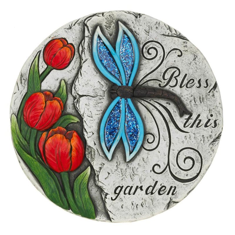 Image 0 of Bless this Garden Stepping Stone with Blue Dragonfly & Red Tulips