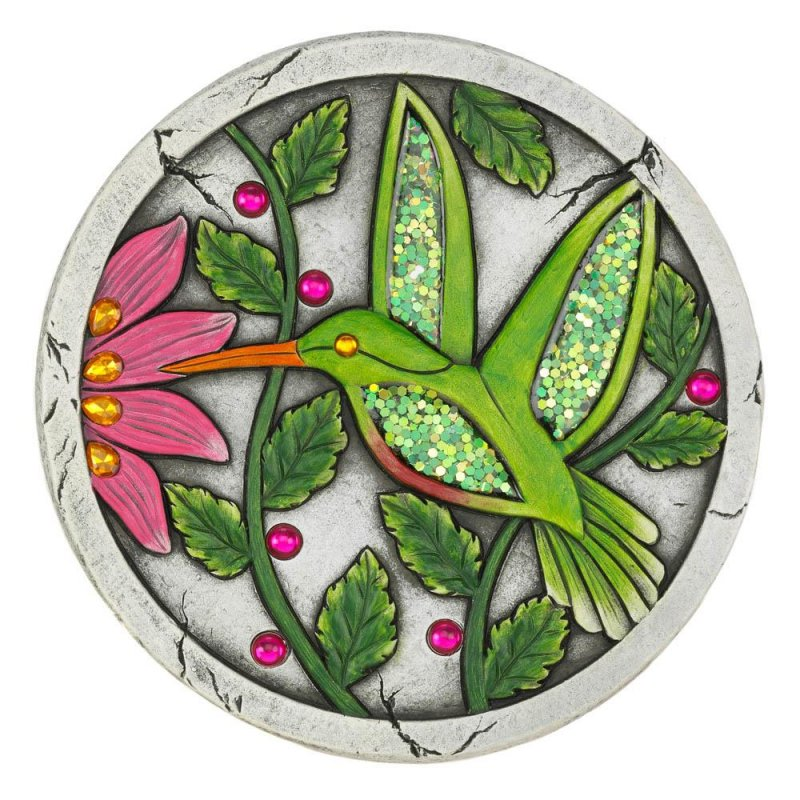 Image 0 of Green Hummingbird Garden Stepping Stone with Pink Flower