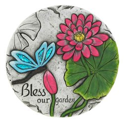 Bless Our Garden Blue Butterfly Garden Stepping Stone with Red Flower
