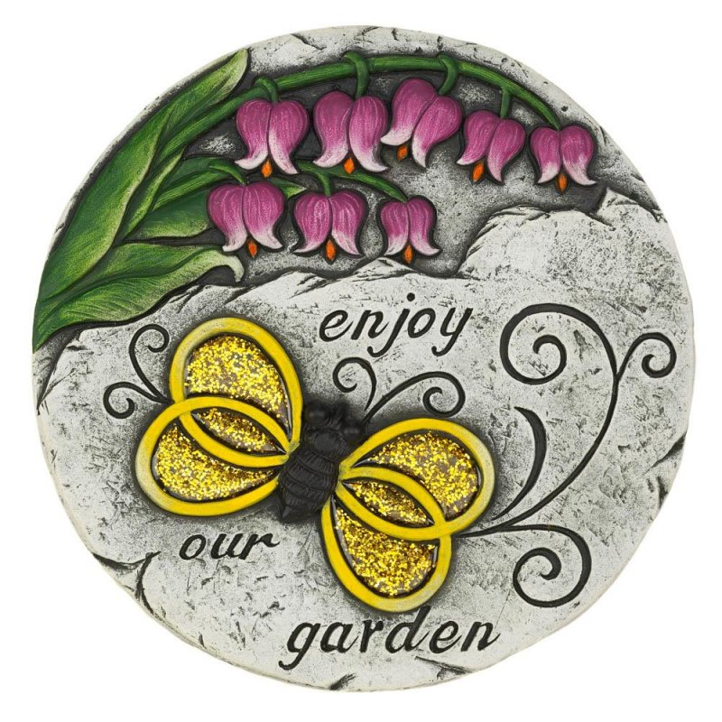 Image 0 of Enjoy our Garden Stepping Stone with Glitter Overlay Bee Print & Pink Tulips