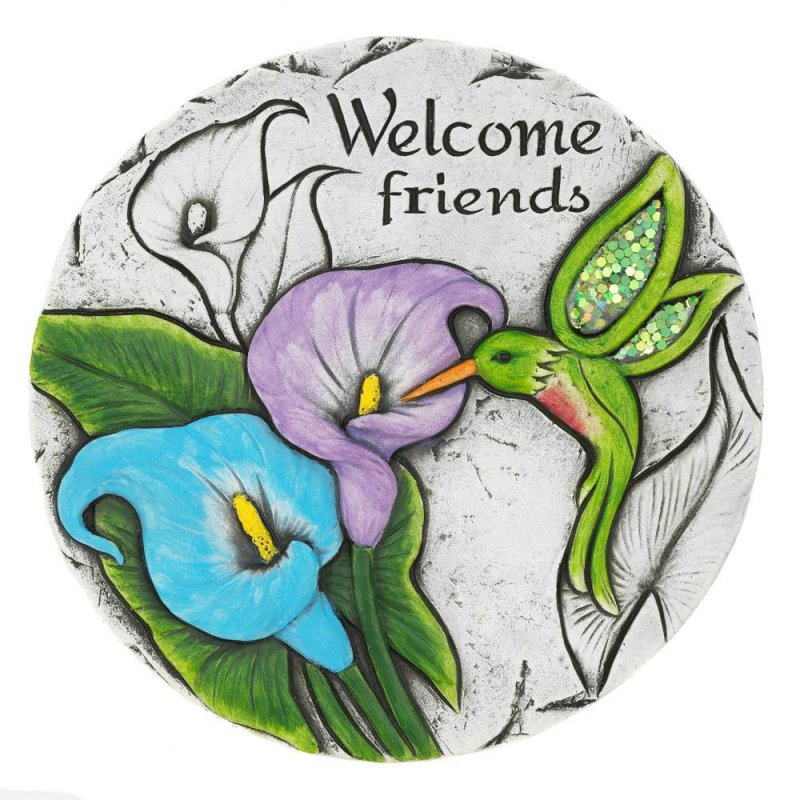 Image 0 of Welcome Friend Garden Stepping Stone with Calla Lilies