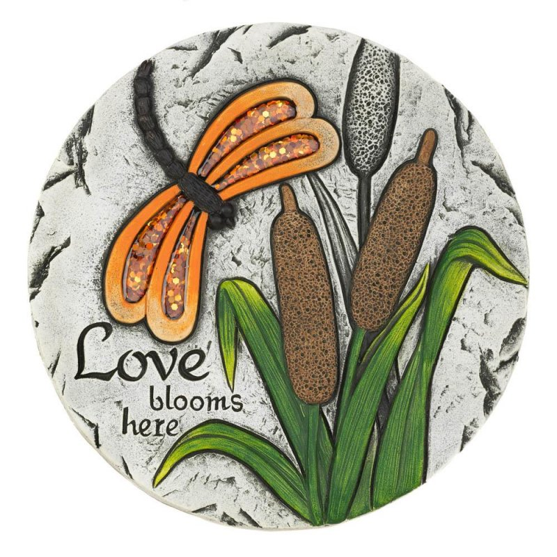 Image 0 of Love Blooms Here Garden Stepping Stone with Orange Dragonfly