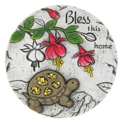 Bless This Home Garden Stepping Stone with Turtle & Pink Flowers