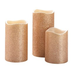 Rose Gold Glitter LED Candles Set of 3 Large, Medium & Small