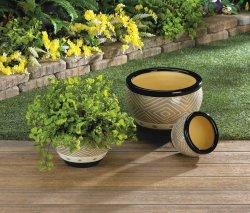 Modern Gray & Black Trim Ceramic Flower Pots w/ Drain Hole Set of 3 Varied Sizes